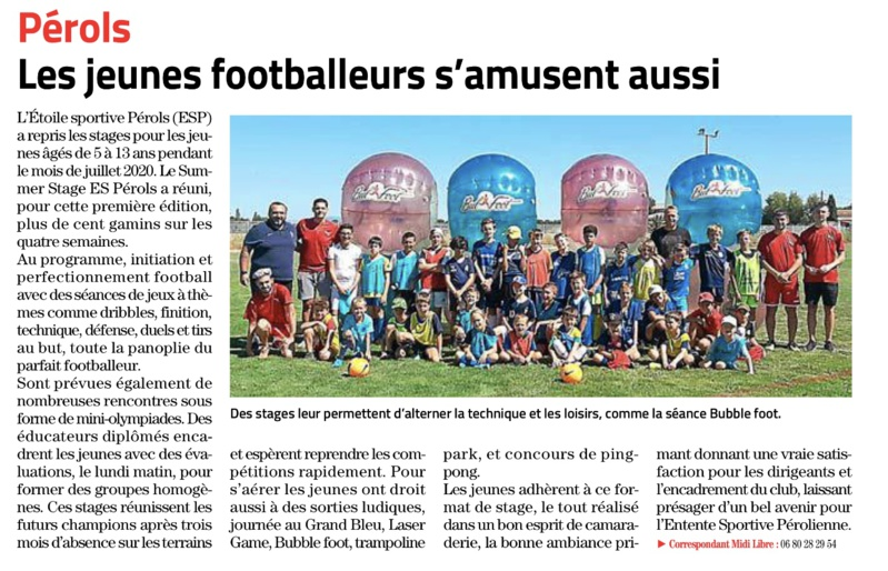 Article Midi-Libre du Summer Stage...